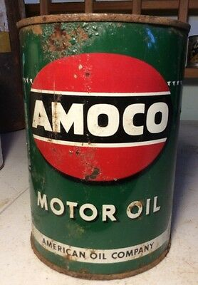 Vintage Amoco Motor Oil 1 Quart Tin Can Advertising American Man Cave Service
