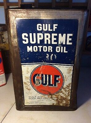 Vintage Gulf Supreme Motor Oil Tin Can Advertising 5 Gallon Early Service Scarce