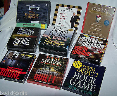 Lot of 9 Audio books on CD discs over 90 listening hours (7  Mystery Thrillers)