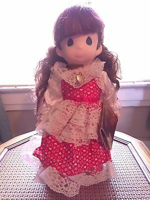 1991 Precious Moments Girl Doll with Red Dress and Locket (stand included)