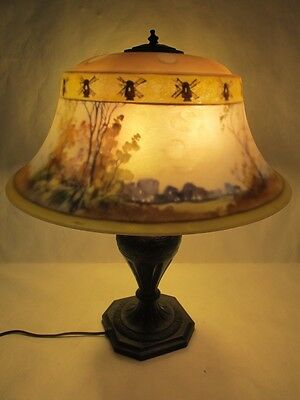Magnificent C. 1910 Signed Pairpoint Reverse Painted Lamp Signed