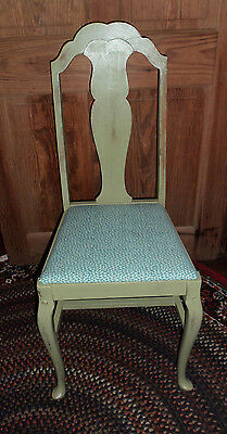 Vintage Refurbished Side Chair - Curved Legs - Fabric Seat -Distressed Finish