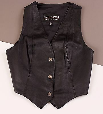 Vintage 80s black Wilsons Leather snap button concho vest western festival small