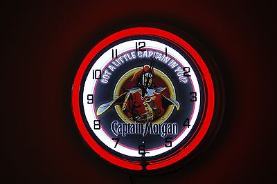 "CAPTAIN MORGAN RUM NEON CLOCK - 19"" - Free Shipping"