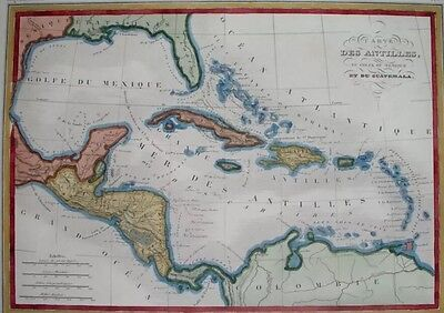 1830s Large Map of Southeast United States; West Indies; Texas; Florida