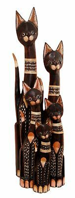 "Bali Hand Made Wood Large 38""H Cat & Kitten Family Figurine Set of 5 Sculpture"