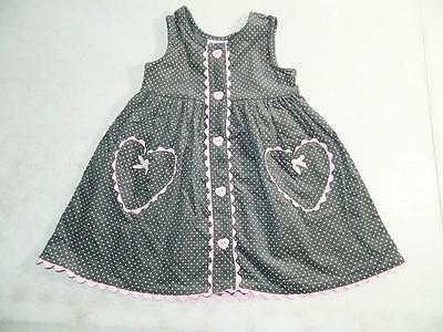 Blueberi Boulevard Baby Girls Hearts Dress Gray / Pink 100% Cotton NWT Size 3T