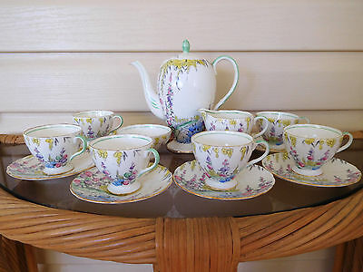 "Foley ""English Garden"" 16 Piece Coffee Set Made In England 1930s"