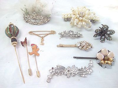 Large Lot of old Vintage hair clips, Crystal Rhinestone, glass pins and Tiara