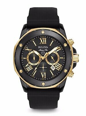 Bulova Men's Marine Star Chronograph Black Two Tone Rubber Strap Watch 98B278