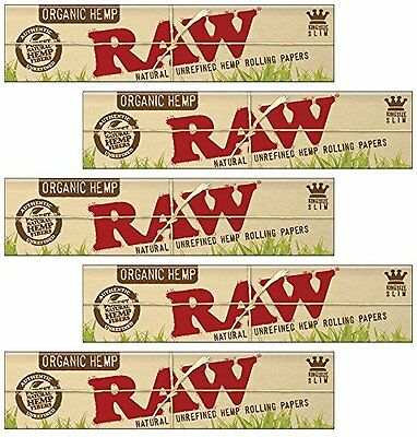 RAW Organic Hemp King Size Natural Unrefined Rolling Papers - 5 Packs