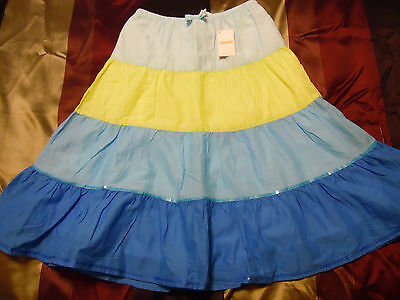 NEW Girls Size 9 Long Tiered Skirt GYMBOREE Blue Yellow W/Sequines 100% Cotton