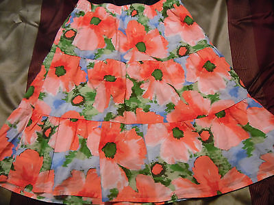 Girls Size 12 Long Tiered Skirt GYMBOREE Pink Blue Floral Elastic Waist
