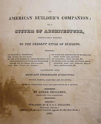 1820 AMERICAN BUILDERS COMPANION by BENJAMIN Architect Carpenter CANTON OH owner