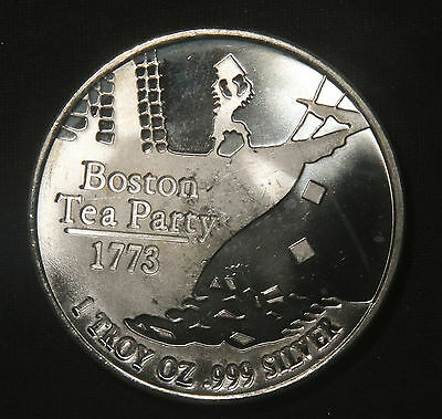 "Boston Tea Party 1 Oz .999 Silver Round ""don't Tread On Me""  Lot 231135"