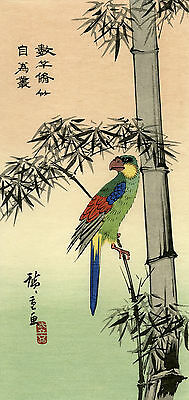 "Very rare limited edition 137/250 HIROSHIGE Japanese woodblock print  ""MACAW"""