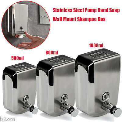 500/800/1000ml Stainless Steel Liquid Soap Dispenser Wall Mount Shampoo Box New