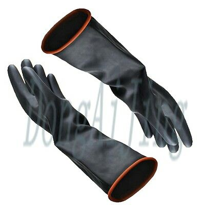 Powder Latex Industrial Rubber Gloves Anti Acid Chemical Resistant Black Newest