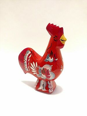 """NEW! 6.5"""" RED Swedish Dala ROOSTER Folk Art Wood Carving by Nils Olsson"""