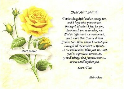 Your'e Thoughtful Print Gift Personalized Aunt Keepsake Poem - Flowers & Birds