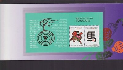 2014 Year Of The Horse Mini Stamp Sheet Christmas Island Australia luna folder
