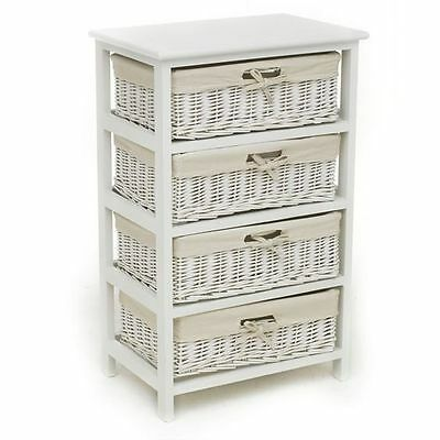 4 Drawer Wicker Basket Unit Storage Chest White Natural Lining Home Furniture