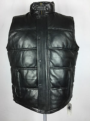 Mens Genuine Lambskin Leather Bubble Puffer Vest Black  Size: S M L Xl 2Xl 3Xl