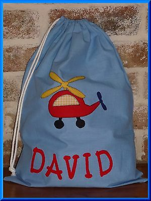 Child's / Boys Personalised Name Library Bag / Toy Bag  - Helicopter -