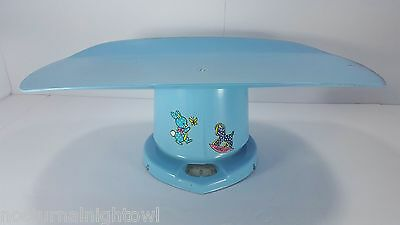 Vintage COUNSELOR 25lb Blue Metal Nursery BABY SCALES Bunny Rabbit Rocking Horse