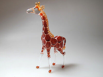 Craft MINIATURE HAND BLOWN GLASS Standing Giraffe FIGURINE Wildlife Inspired