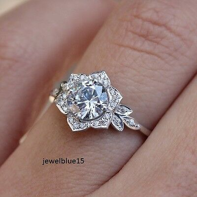 2.Ct Flower Style Light Grey Real Moissanite 925 Sterling Silver Engagement Ring