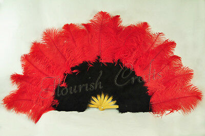 """Red & Black 27"""" x 53"""" Marabou & Ostrich feathers fan With carrying case"""