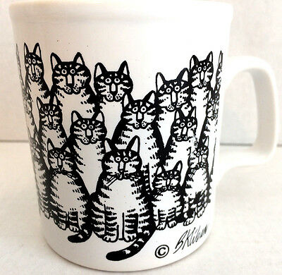 Kliban Bunch of Tabby Cats 1970's Vintage Mug Kiln Craft England Ironstone
