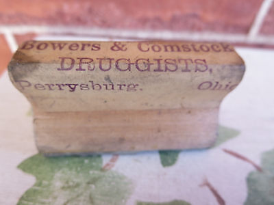 Antique Wood & Rubber Druggist Stamp Bowers & Comstock Perrysburg Ohio OH