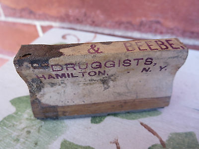 Antique Wood & Rubber Druggist Stamp Beal & Beebe Hamilton NY New York