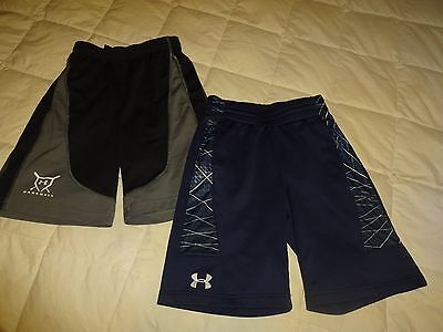 Lot of 2: Boys UNDER ARMOUR Athletic Shorts, Youth Medium YMD, blue/black