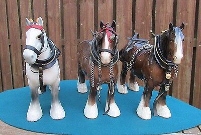 Set Of 3 Beswick Shire Mares 818 In Tack