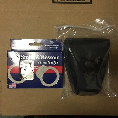 Smith&wesson Nickel Handcuff Model 100-1 With New Handcuff Duty Belt Case