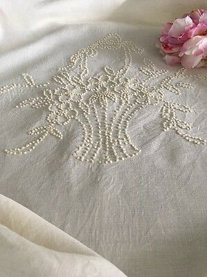 Antique Ecru Linen Hobnail Embroidered Coverlet Bedspread W/ Crocheted Lace