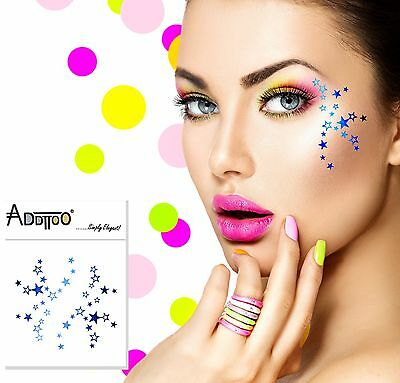 ADDTTOO® Temporary Blue Metallic Make Up Foil Tattoo Party Eyes Shooting Stars