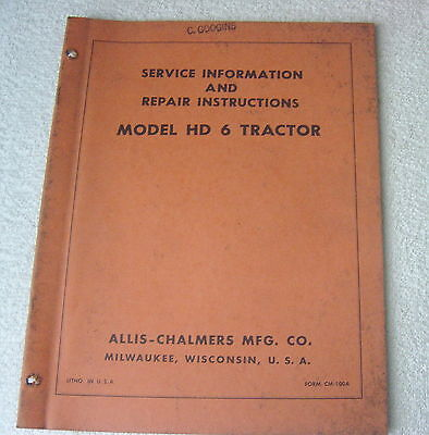 Allis Chalmers Hd 6 Hd-344 Tractor Service Manual