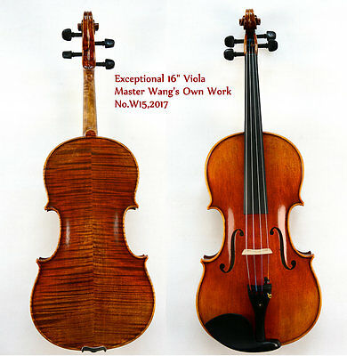 Amazing 16'' Viola!Outstanding Tone!Beautiful Flame Back!Master's Own Work W15