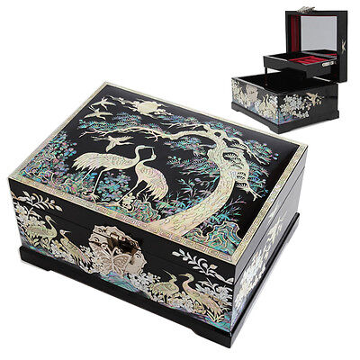 Korean Mother of Pearl Inlaid Lacquer Jewelry Box Antique Authentic Wedding Gift