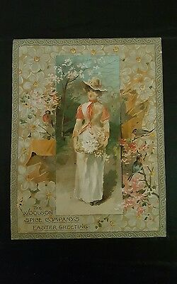 Beautiful Easter Greeting Lion Coffee Woolson Spice Co Victorian Trade Card