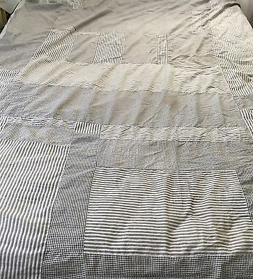 Antique Vintage Quilt Top or Fabric, Grey/Black/White, Checks & Stripes