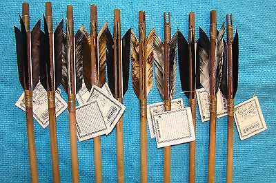 12 Twelve Handmade Navajo Arrows w/different feathers & Stone chipped Arrowheads