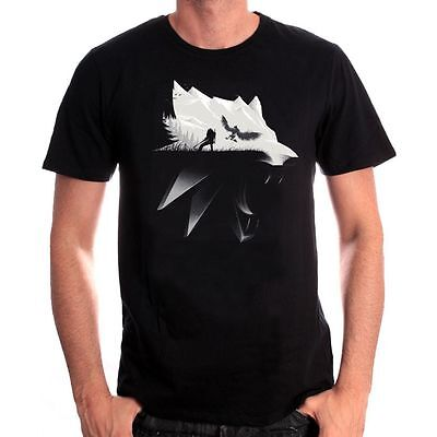 Official The Witcher 3: Wild Hunt Wolf Silhouette Black T-Shirt (Brand New)