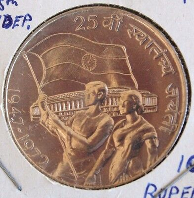 India 10 Rupees 1972 25th Anniversary Independence Proof-Like Silver