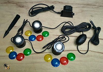 3 Pond Lights Underwater Garden LED Spot Light Sensor Coloured Lenses