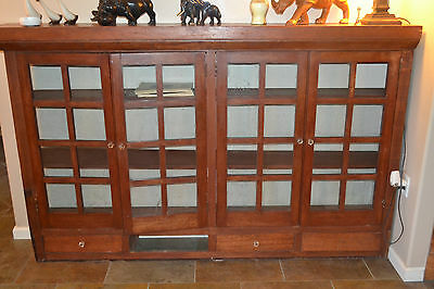 Antique Mission Oak Cabinet Display Bookcase Glass W/ Original Knobs